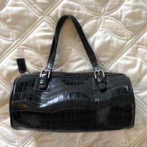 Charter Club black faux alligator print purse
